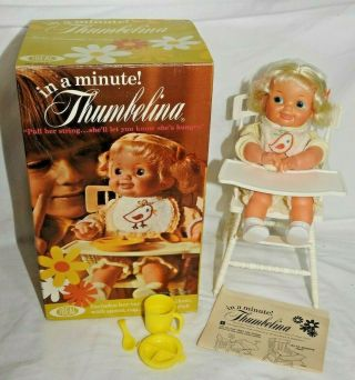 Vintage 1971 Ideal Thumbelina Doll In A Minute W/ Box Mib Complete