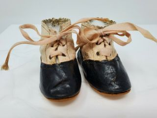 "Antique French Doll Shoes Bébé Jumeau Bru Steiner Gaultier Marked 6 3 "" Long"