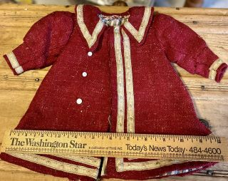Gorgeous Antique Red Dress For French / German Bisque Doll Or Vintage Doll
