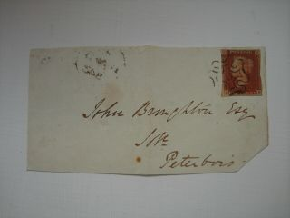 1841 1d Red Imperf.  Unplated.  Large Piece With Vf London