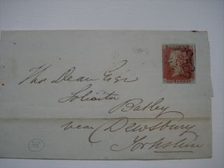 1841 1d Red Imperf.  Plate 38.  Large Dated Piece With London