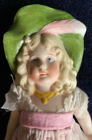 "Antique German All Bisque Doll Molded Hat Jointed Dressed 7"" Antique Doll"