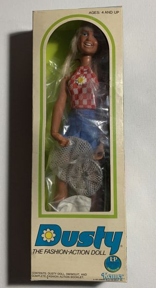 """Rare Vintage 1975 Kenner 12"""" Dusty Doll In Fishing Action Outfit"""