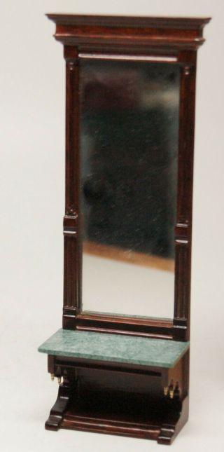"""Victorian Walnut Pier Mirror With Marble Shelf,  7 """" Tall,  Early X - Acto,  1:12"""