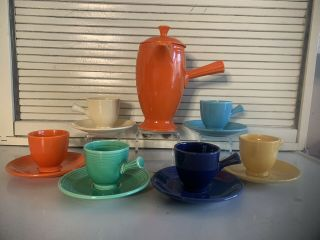 Fiesta Vintage Demitasse Stick Handled Coffee Pot W/cups And Saucers