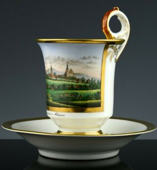Museum Quality 19thc Kpm Berlin Named Topographical Porcelain Tea Cup Saucer 2