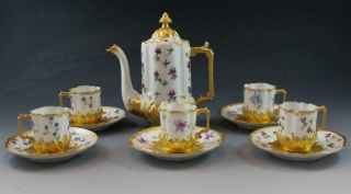 C1890s French Limoges Porcelain Demitasse Set W/ Coffee Pot & 5 Cups & Saucers
