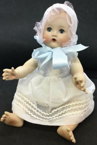 Mbi Posable Porcelain Baby Doll White And Blue Dress With Bonnet