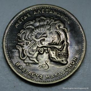 1992 Hand Carved Skulled Greek Coin By Shaun Hughes Hobo Nickel