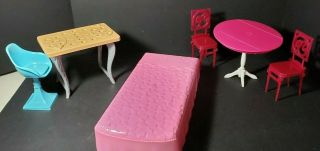 Barbie Dream House Bed,  Table And 1 Chair,  Plus Extra Table And 2 Chairs