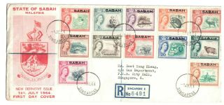 Malaysia/singapore/sabah - Registered First Day Cover For Sabah Overprints To 75c