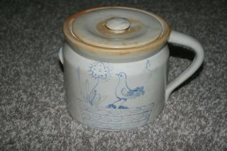 Antique Vintage Blue Decorated Stoneware Bird Crock