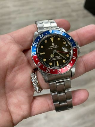 Vintage Rolex Gmt Master 1675 Pepsi Red Blue Matte Gilt Dial Stainless 1959
