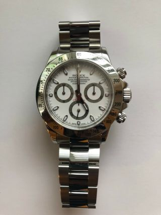 Polished Rolex Daytona Stainless Steel & Chronograph Watch & Box M 116520