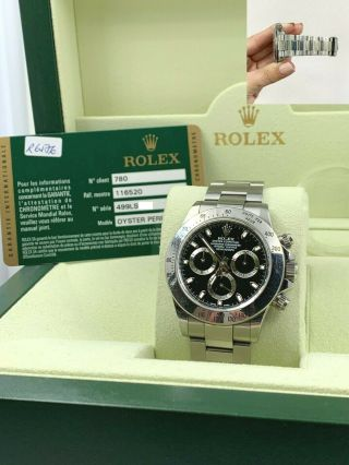 Rolex Daytona 116520 Black Dial Stainless Steel Box Papers Open Card Unpolished