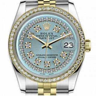 Rolex Datejust 36mm Gold & Stainless Steel Ice Blue String Diamond Dial Automati
