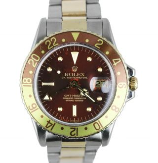 Vintage 1973 Rolex Gmt - Master 1675 Brown Root Beer Two - Tone 18k Gold Stainless