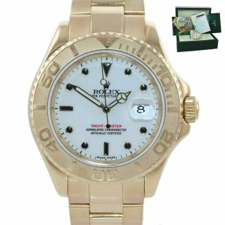 Papers 2005 Rolex Yacht - Master 18k Yellow Gold White Dial 16628 40mm Watch
