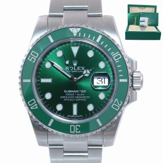 2020 Papers Rolex Submariner Hulk 116610lv Green Dial Ceramic Watch Box