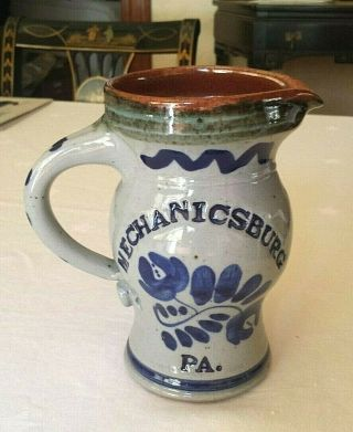 Vintage Mechanicsburg Pa Glaze Decorated Stoneware Pottery Pitcher Hand Thrown