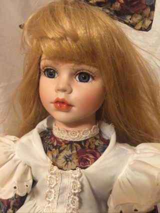18 Inch Porcelain Doll,  Blond Hair,  With Stand,  One Of A Kind