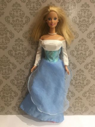 Mattel 1966 Vintage Barbie In Blue Ball Gown With Shoes Jewellery