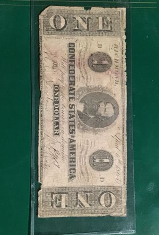 1863 Confederate States Richmond Va $1 One Dollar Large Currency Note.