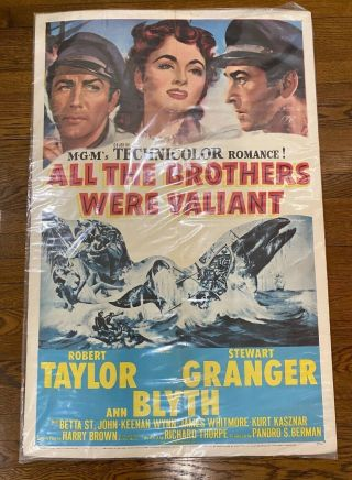 1953 All Brothers Were Valiant Movie Poster Robert Taylor One Sheet Aa N179 Pa