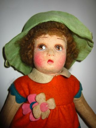 """Early Antique 14 """" Lenci Type Cloth Doll Early Cloth Lenci Style Outfit"""