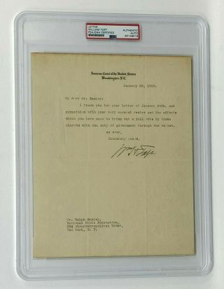 President William H.  Taft Signed 1929 Us Supreme Court Typed Letter Psa/dna Auto
