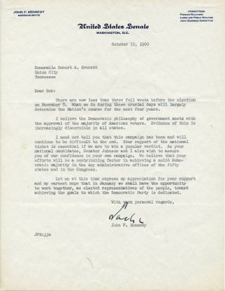 John F Kennedy Signed Letter With