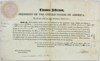 Thomas Jefferson & James Madison Signed 9.  25x15 1802 Military Appointment Bas